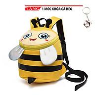 Balo cho bé đi học in hình ong bầu dễ thương kèm dây chống đi lạc LA01 tặng móc khóa cá heo thumbnail