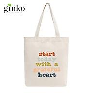 Túi Tote Vải Mộc GINKO Dây Kéo In Hình START TODAY WITH A GRATEFUL HEART M36 thumbnail