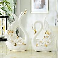 Đôi thiên nga sứ trắng cao cấp phối hoa hồng thumbnail
