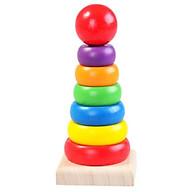 Tháp màu cầu vồng gỗ giúp bé nhận biết màu sắc, kích cỡ - Loại nhỏ-TotdepreHG1018 thumbnail