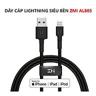 Cáp sạc cho iPhone dây dù ZMI AL805 chuẩn MFI dài 1m - Đen - Hàng chính hãng thumbnail
