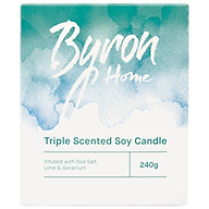 Byron Home Triple Scented Soy Candle Sea Salt Lime & Geranium thumbnail