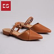 Giày Bít Mũi Phối Dây Thời Trang Erosska EL004 (Màu vàng bò) thumbnail