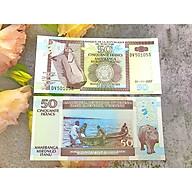 Tiền cổ 50 Francs Burundi hình con hà mã , tiền quốc gia châu Phi , mới 100% UNC, tặng túi nilon bảo quản thumbnail
