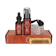 4 Pcs set Men Beard Growth Kit Beard Roller Beard Wash Beard Oil Beard Comb Facial Hair Growth Kit thumbnail