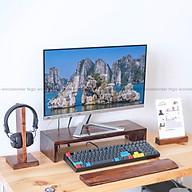 Bộ 3 Phụ kiện Kệ máy tính để màn hình, Kê tay bàn phím, Giá treo tai nghe bằng gỗ tự nhiên FEGO màu nâu Rustic Hàng Chính Hãng thumbnail