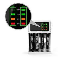 Bộ sạc nhanh 4 cổng AA AAA thông minh tự ngắt khi đầy có đèn báo dung lượng (màu đen) thumbnail