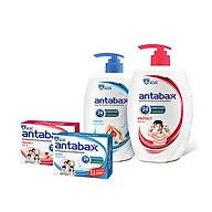 Bộ Đôi Nước Rửa Tay Bảo Vệ Da Kháng Khuẩn ANTABAX 250ml x 2 & Xà Bông Kháng Khuẩn ANTABAX 85g x 2 - Loại bỏ 99.9% vi khuẩn - TẶNG kèm 10 gói sữa tắm bỏ túi tiện lợi thumbnail