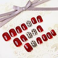 Bộ 24 móng tay giả đỏ chấm bi (CH011) tặng kèm thun lò xo cột tóc màu đen tiện lợi thumbnail