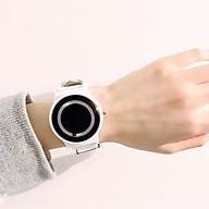 Đồng hồ thời trang nam nữ P2k,mặt tròn dây da mẫu không kim giây, chạy 2 kim thumbnail