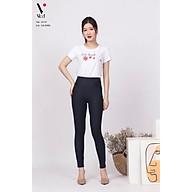 Áo phông, áo thun nữ cộc tay Vicci AP.01.3 chất liệu cotton vân gỗ in chữ Smile thumbnail