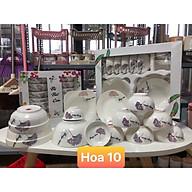 Bộ đồ ăn gốm sứ cao cấp 11 món bát, đĩa, tô, chén gốm sứ - lá bồ công anh tím thumbnail