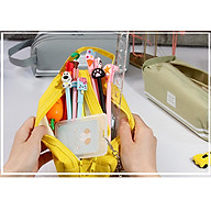 Túi đựng bút 2 ngăn tiện dụng, túi đựng đồ dùng họp tập trơn màu phong cách vintage - Giao màu ngẫu nhiên thumbnail