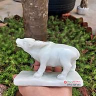 Tượng đá trâu 12 con giáp phong thủy đá trắng xanh 12cm đá Non Nước thumbnail