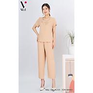 Đồ bộ bigsize - Đồ bộ trung niên - Bộ đồ trung niên mặc nhà bigsize Vicci DGN.03 thiết kế áo cộc quần dài chất liệu đũi cao cấp (dành cho người béo) thumbnail