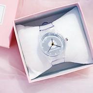 Đồng hồ thời trang nam nữ dây nhựa trong mặt hoa cúc TH652 thumbnail