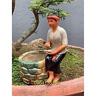 Tượng chậu trồng cây bon sai cô tấm bên giếng gốm sứ Bát Tràng thumbnail