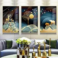 Tranh treo tường, tranh đồng hồ NT197 bộ 3 tấm ghép thumbnail