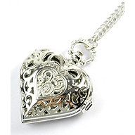 Đồng hồ đeo cổ mặt trái tim màu bạc thumbnail