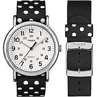 Timex Women s TW2P86600 Weekender Reversible Black White Dots Nylon Slip-Thru Strap Watch thumbnail
