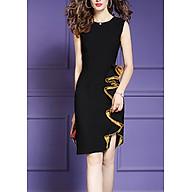 Đầm ôm dự tiệc đủ size kiểu đầm phối cách điệu tà bèo kim sa vàng GOTI3048 thumbnail