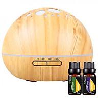 Máy khuếch tán ánh trăng vân gỗ sáng NF2040, Tinh dầu sả chanh (10ml), Tinh dầu bưởi chùm (10ml) thumbnail