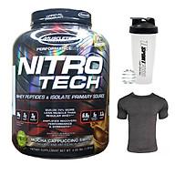 Combo Sữa tăng cơ giảm mỡ cao cấp Nitrotech của Muscletech hương Mocha Cappuccino hộp 4lbs & Bình lắc 600ml (Mẫu ngẫu nhiên) & Áo thun thể thao (Size L 68-80kg) thumbnail
