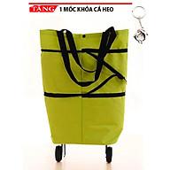 Túi vải đi chợ có 2 bánh xe kéo đa năng cao cấp KT18 Tặng móc khóa cá heo - xanh lá thumbnail