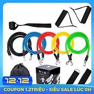 Bộ dụng cụ dây cao su đàn hồi tập thể thao, tập gym tại nhà tiện dụng J555 (tặng túi đựng dây rút) thumbnail
