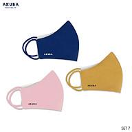 Khẩu trang thời trang 3 lớp kháng khuẩn chống tia UV AKUBA mềm mại, điều hòa không khí tốt 01 thumbnail