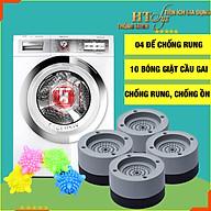 Combo 04 Đế chống rung máy giặt + 10 Bóng giặt cầu gai quần áo HT SYS thumbnail