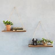 2 Kệ gỗ thông 35 15 45cm kệ trang trí kệ treo tường kệ treo dây thumbnail