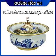 Điếu Bát Men Lam Bọc Đồng Xưởng Gốm TM Bát Tràng Vẽ Trúc Lâm Thất Hiền thumbnail