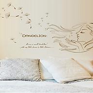 decal dán tường cô gái dandelion nâu thumbnail