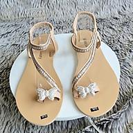 Sandal Nữ Sỏ Ngón Bệt Đế Bằng Quai Đính Đá - MS 06 thumbnail