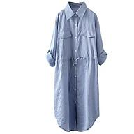 Đầm suông sơ mi kẻ sọc rút eo trẻ trung ArcticHunter, thời trang hè thu 2021 thumbnail