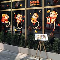 Decal dán tường, dán kính trang trí Tết Tân Sửu- Trâu vàng ôm hũ tiền- mã sp QR209167 thumbnail