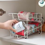 Khay để lon bia, nước ngọt thông minh trong tủ lạnh-Kệ đựng lon nước 2 tầng 10 lon, mẫu mới, hàng cao cấp thumbnail