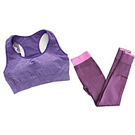 Bô quần áo tập yoga, tập gym nữ cao cấp áo hai dây đan chéo sau lưng SR06 YG bộ tím thumbnail