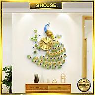 Đồng Hồ Treo Tường Trang Trí Đẹp Con Công S-A68 chim khổng tước độc lạ 3d cỡ lớn nghệ thuật phù hợp cho phòng khách, phòng ngủ thumbnail