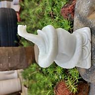 Tượng rắn tuổi Tỵ phong thủy 12 con giáp đá trắng xanh 12cm - đá Non Nước thumbnail