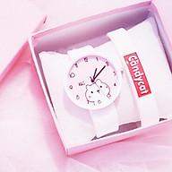 Đồng hồ thời trang nữ Mèo Kute Ms889 dây silicon mặt tròn. thumbnail