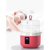 Nồi điện nấu cháo chậm đa năng bằng sứ ceramic tự động, dành cho bé ăn dặm (hấp, nấu, chưng, hầm, hâm nóng) 0,8L- hàng chính hãng (đỏ) thumbnail