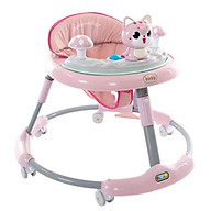 Xe tròn tập đi cho bé BABY hình mèo cho bé chỉnh cao thấp, có nhạc (Xanh nhạt-Xanh đậm-Hồng) thumbnail