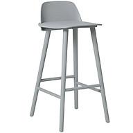 Ghế bar thân nhựa xám chân thép sơn có lưng tựa cb nerd thumbnail