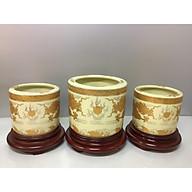 Bát hương thờ ( gốm sứ bát tràng cao cấp) comboo bộ 3 bát hương + đế gỗ (tặng tro đủ 3 bát hương) thumbnail