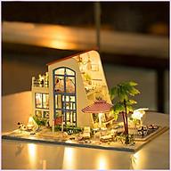 Nhà búp bê lắp ghép Ngôi nhà màu xanh Tặng kèm keo dán,dụng cụ lắp ghép, mica thumbnail