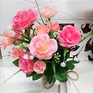 Hoa giả Chùm hoa Hồng 11 Bông Màu hồng trang trí thumbnail