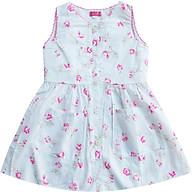 Đầm gài nút thân trước hoa hồng nền trắng T122008 thumbnail