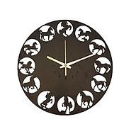 Đồng hồ treo tường hình ngựa trang trí nội thất nhà cửa đời sống quà tặng độc đáo sử dung máy kim trôi cao cấp thumbnail